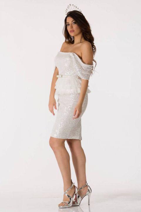 بيضاء لامعة كم حذافة فستان سهرة البدلة