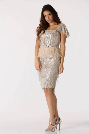 shecca - Silver Shiny Fringed Evening Dress Suit (1)