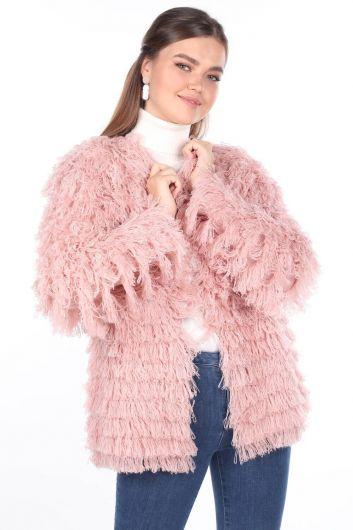 Pink Fringed Women's Knitwear Cardigan - Thumbnail