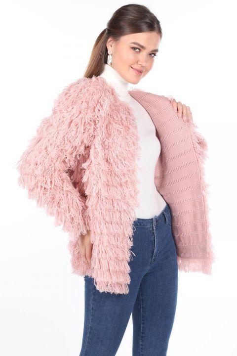 Pink Fringed Women's Knitwear Cardigan