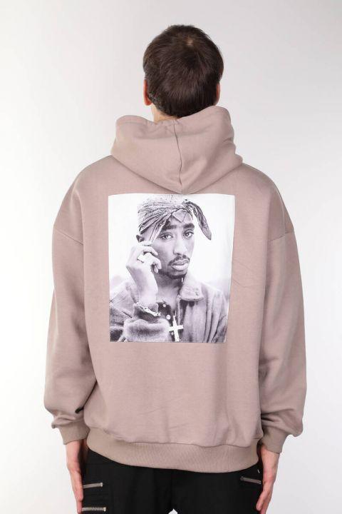 Tupac Baskılı Kapüşonlu Erkek Sweatshirt