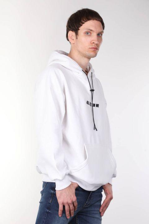 Tupac Baskılı Kapüşonlu Beyaz Oversize Erkek Sweatshirt