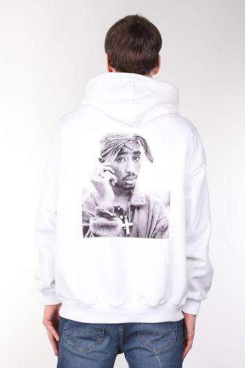 Tupac Baskılı Kapüşonlu Beyaz Oversize Erkek Sweatshirt - Thumbnail