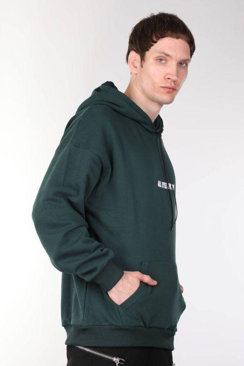 Tupac Baskılı Kapüşonlu Oversize Erkek Sweatshirt