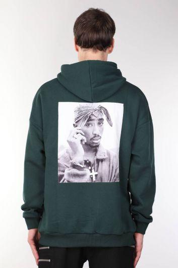 Tupac Baskılı Kapüşonlu Oversize Erkek Sweatshirt - Thumbnail