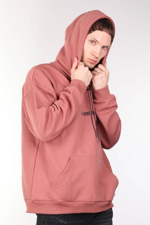 Tupac Baskılı Oversize Erkek Kapüşonlu Sweatshirt