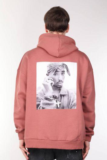 Tupac Baskılı Oversize Erkek Kapüşonlu Sweatshirt - Thumbnail