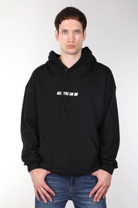Tupac Baskılı Siyah Oversize Erkek Kapüşonlu Sweatshirt