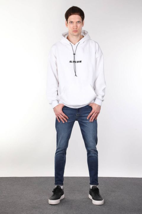Tupac Printed Hooded White Oversized Men's Sweatshirt