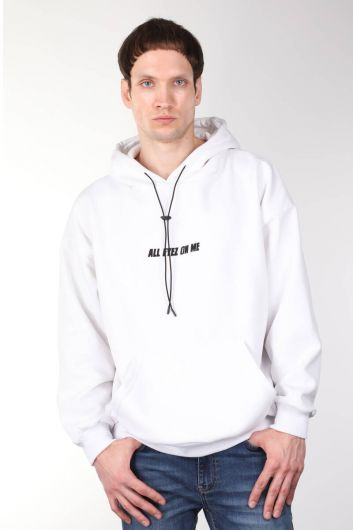Белая оверсайз мужская толстовка с капюшоном и принтом Tupac - Thumbnail