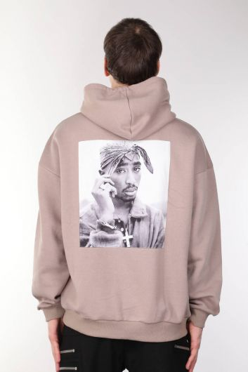 Tupac Printed Hooded Men's Sweatshirt - Thumbnail