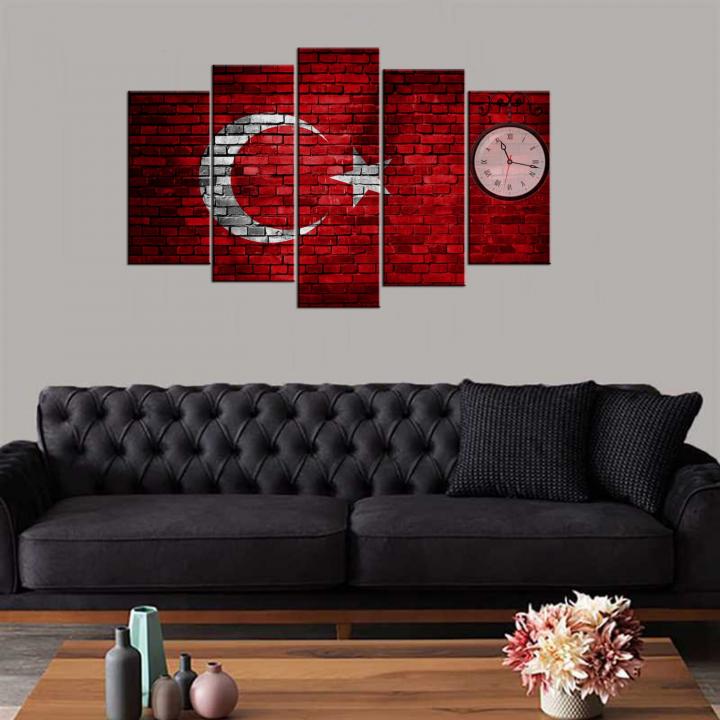 Türk Bayrağı 5 Parça Mdf Saat Tablo