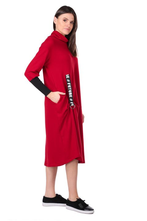 Turtleneck Claret Red Women's Sweat Dress