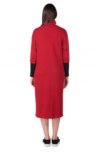 Turtleneck Claret Red Women's Sweat Dress - Thumbnail