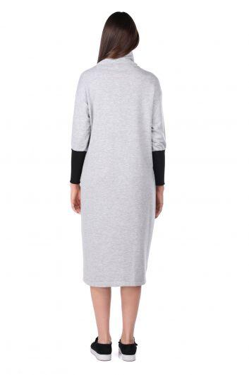 Серое женское спортивное платье с высоким воротом - Thumbnail