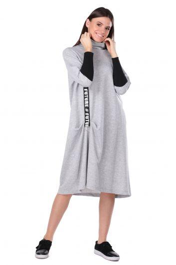 Turtleneck Gray Women's Sweat Dress - Thumbnail