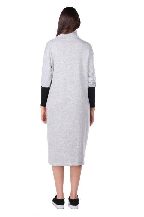 Turtleneck Gray Women's Sweat Dress