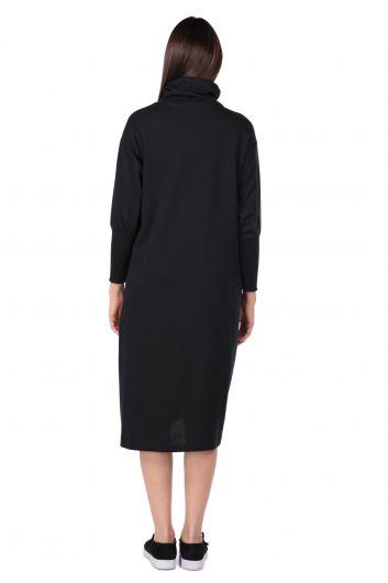 Turtleneck Black Women's Sweat Dress - Thumbnail