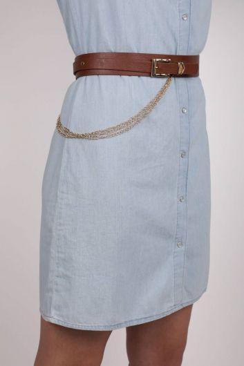 MARKAPIA WOMAN - Кожаный пояс с тремя цепями (1)