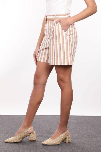 MARKAPİA WOMAN - Женские полосатые шорты с двойными манжетами и боковыми карманами (1)