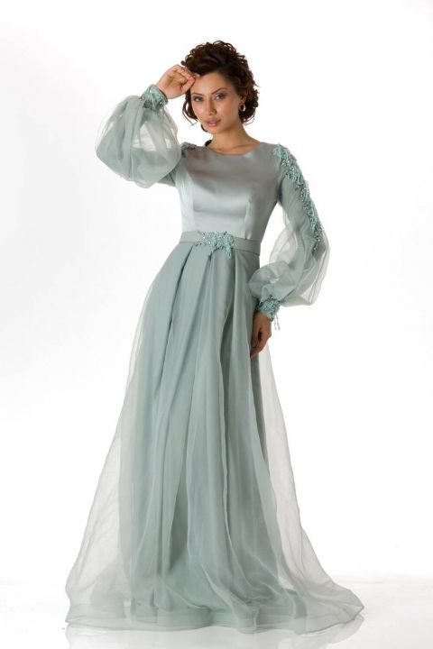 Gray Satin Evening Dress With Balloon Sleeves