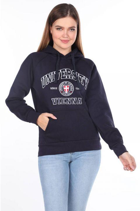 University Aplikeli İçi Polarlı Kapüşonlu Kadın Sweatshirt