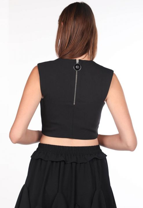 V Neck Black Crop Blouse