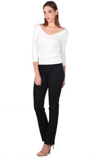V Neck Half Sleeve Ecru Women Knitwear Sweater - Thumbnail