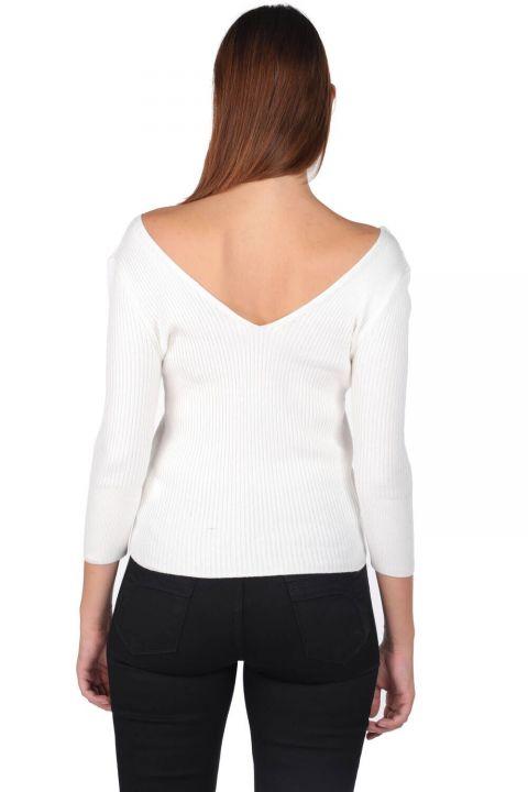V Neck Half Sleeve Ecru Women Knitwear Sweater
