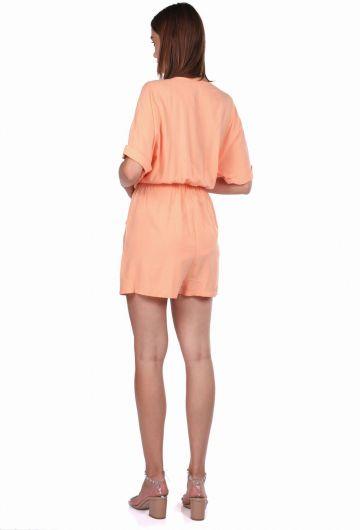 V Neck Jumpsuit Shorts - Thumbnail