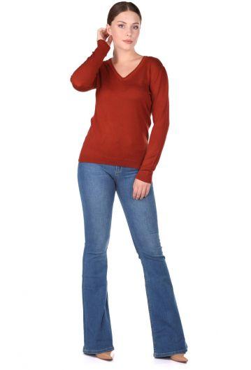 Женский трикотажный свитер с V-образным вырезом - Thumbnail