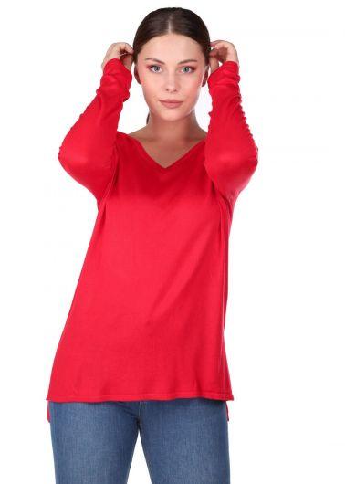 سترة تريكو نسائية بياقة على شكل V باللون الأحمر - Thumbnail