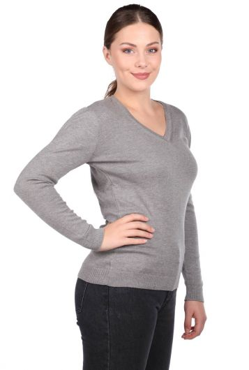 MARKAPIA WOMAN - Gray V Neck Women's Knitwear Sweater (1)