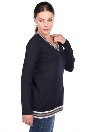 MARKAPIA WOMAN - سترة تريكو نسائية أساسية باللون الأزرق الداكن على شكل حرف V (1)