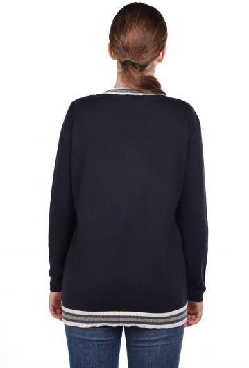 Темно-синий базовый женский трикотажный свитер с V-образным вырезом - Thumbnail