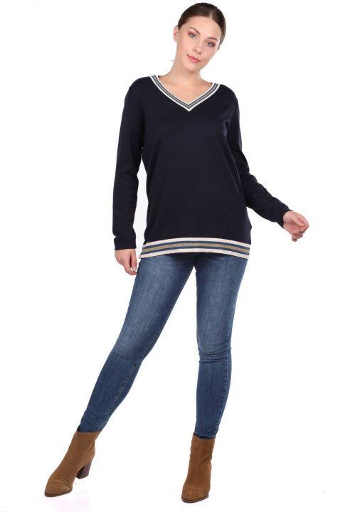 Navy Blue V Neck Basic Women's Knitwear Sweater