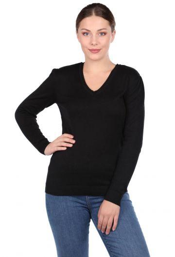 Черныйженский трикотажный свитер с V-образным вырезом - Thumbnail