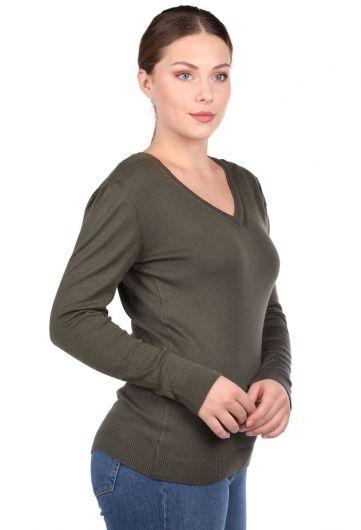 MARKAPIA WOMAN - Хаки-зеленый женский трикотажный свитер с V-образным вырезом (1)