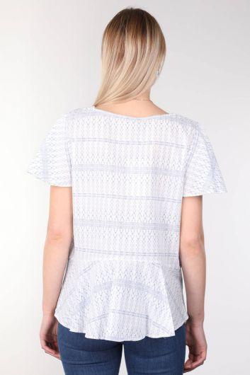 V Neck Patterned Flounce White Women's Blouse - Thumbnail