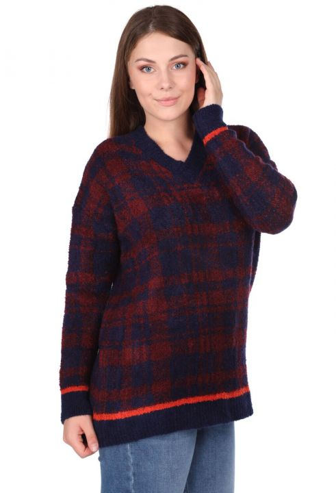 V-NECK PLAID THICK KNIT SWEATER