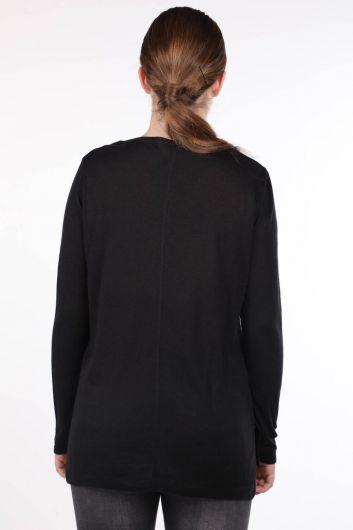 MARKAPIA WOMAN - Черный тонкий женский трикотажный свитер с V-образным вырезом (1)