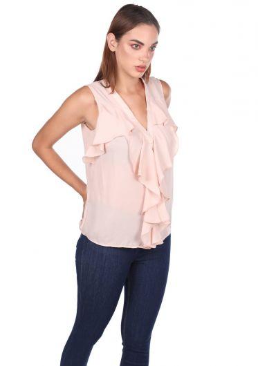 Блузка с V-образным вырезом и маховиком - Thumbnail