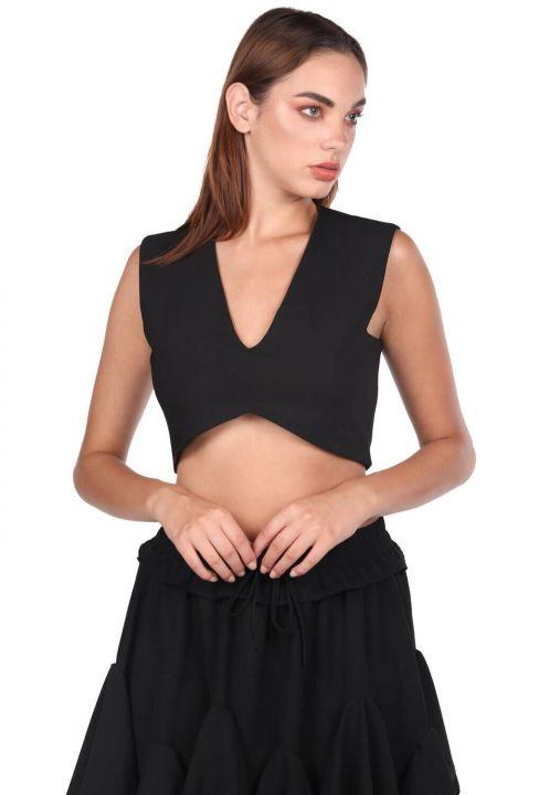 V Yaka Siyah Crop Bluz