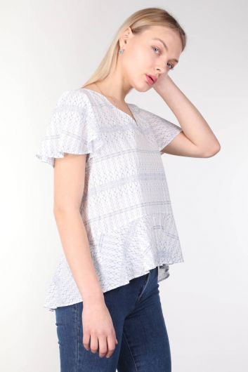 MARKAPIA WOMAN - V Neck Patterned Flounce White Women's Blouse (1)