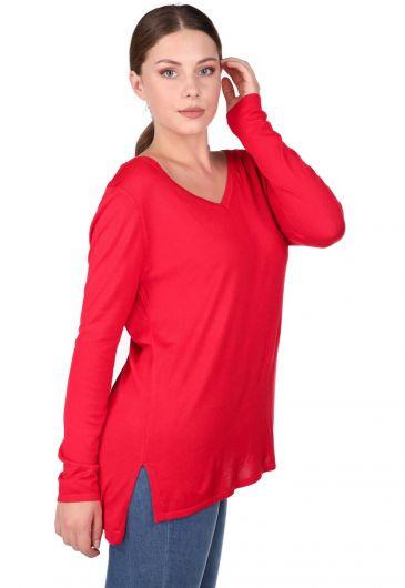 Kırmızı V Yaka Kadın Triko Kazak - Thumbnail