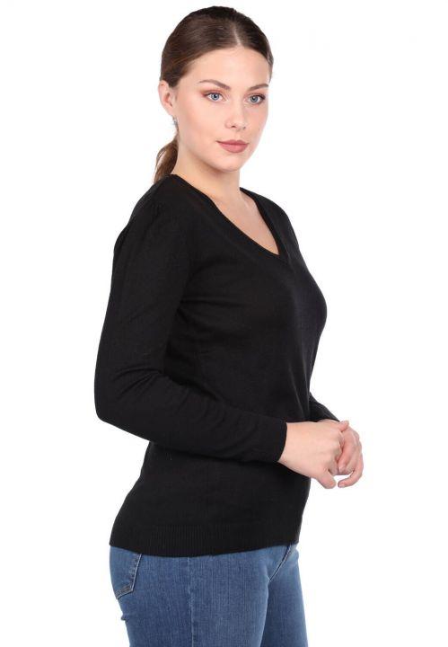 Siyah V Yaka Kadın Triko Kazak