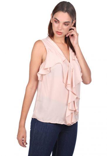 MARKAPIA WOMAN - V Yaka Volan Detaylı Bluz (1)
