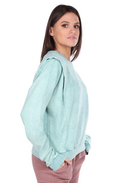 Женский свитшот с подкладкой из зеленого батика