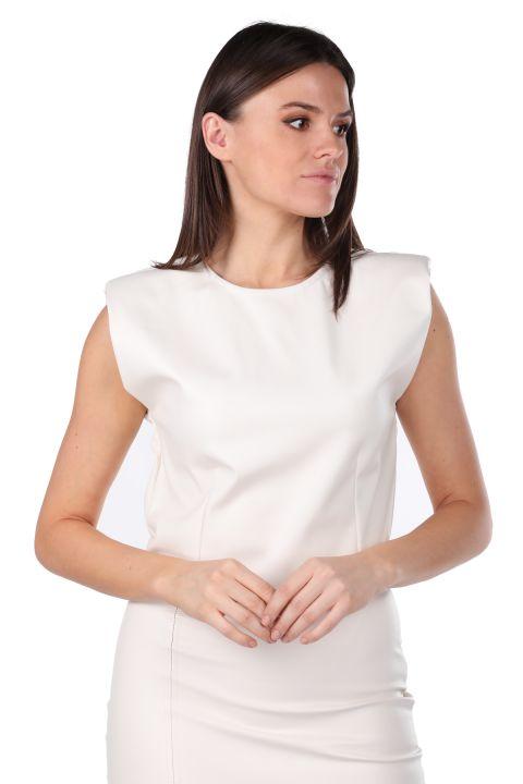 Vatkalı Beli Lastikli Crop Suni Deri Kadın Bluz