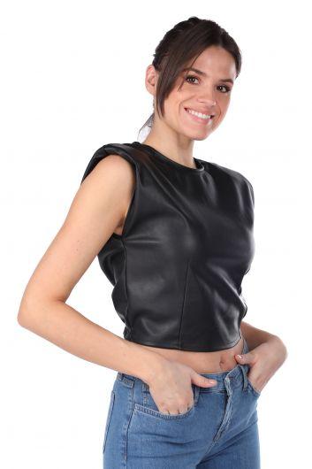 Vatkalı Beli Lastikli Crop Suni Deri Kadın Bluz - Thumbnail